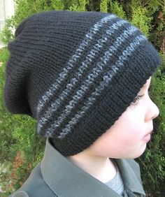 Full coverage slouch hat with folded hem and skinny stripes.  I made mine in heavy weight wool worked at a worsted gauge and it's incredibly warm.  This hat works great and drapes beautifully in wo...