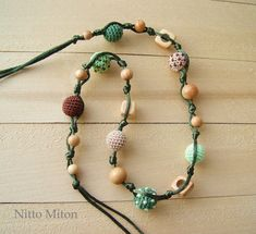 Juniper wooden beads Crochet Teething toy Nursing by NittoMiton