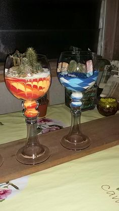 Wine glass terrarium Succulents In Containers, Succulents Diy, Cactus, Mini Zen Garden, Glass Terrarium, Sand Art, Rainbows, Art Boards, Container Gardening