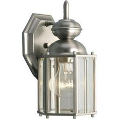 BrassGUARD Collection Brushed Nickel 1-light Wall Lantern-P5756-09 at The Home Depot
