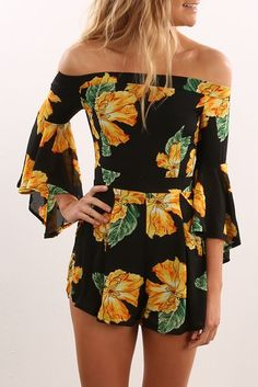 Floral Days Playsuit Black Yellow
