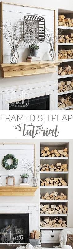 DIY framed shiplap tutorial. Perfect idea for putting up shiplap without the commitment. DIY shiplap fireplace and mantel ideas