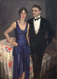 Portrait of N. ter Kuile, 1930 by Johannes Carolus Bernardus (Jan) Sluijters (Dutch presumably his wife).an elegant couple.They're welcome to come for dinner, anytime. Couple Painting, Couple Art, Harlem Renaissance, Post Impressionism, Impressionist, Art Of Noise, Art Deco Paintings, Modern Paintings, Dutch Painters
