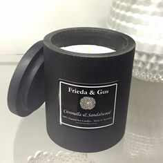 Black Standstone Soy Candle 60hr (choose your fragrance) - Frieda & Gus Soy Candles