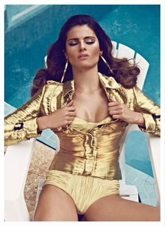 Isabeli Fontana is a Golden Girl for Vogue Latin Americas March Cover Shoot by Koray Birand