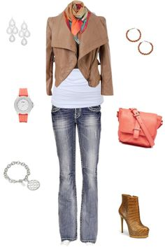 """""""coral & brown"""" by kyteachergirl on Polyvore"""