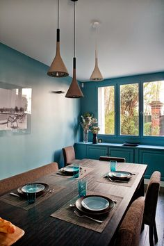 Rich color in the dining room.