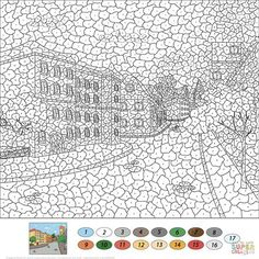 Crafts Printable Old Town Street Color by Number from Color by Number Worksheets category. Select from 25266 printable crafts of cartoons, nature, animals, Bible and many more. Abstract Coloring Pages, Alphabet Coloring Pages, Printable Adult Coloring Pages, Mandala Coloring Pages, Colouring Pages, Free Coloring, Coloring Books, Adult Color By Number, Color By Number Printable