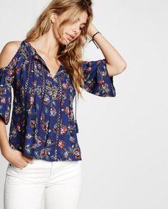 floral print cold shoulder ladder trim blouse