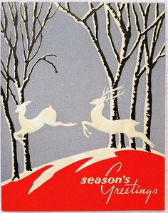 Beautiful Art Deco leaping deer Christmas card.