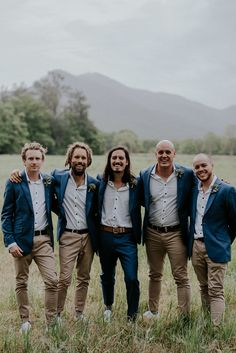 Libbie & Nathan's North Coast Wedding Groomsmen color scheme ideas wedding groomsmen Casual Groomsmen Attire, Groom Outfit, Mens Casual Wedding Attire, Groomsman Attire, Groom Attire Rustic, Mismatched Groomsmen, Rustic Wedding Groomsmen, Brown Groomsmen, Wedding Men