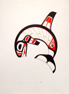 Killerwhale, an original acrylic on Paper by Heiltsuk artist Ben Houstie. Measuring 30 X 22 inches. C.1986. First Nations Art.