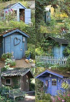 My Shed Plans Construire sa cabane ou son abri au jardin - Ladministration et les cabanes - Now You Can Build ANY Shed In A Weekend Even If You've Zero Woodworking Experience! Allotment Shed, Allotment Gardening, Blue Garden, Dream Garden, Home And Garden, Colorful Garden, Garden Buildings, Garden Structures, Blue Shed
