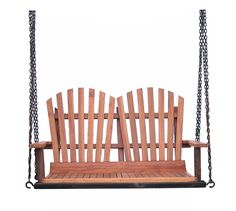 Modern Outdoor Double Seater Wooden Swing Loveseat w//Chains