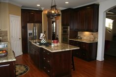 Dark Cherry Cabinets Kitchen Traditional with Built in Fridge Cherry Cabinets
