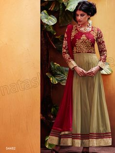 #Designer Anarkali #Beige & Red #Indian Wear #Desi Fashion #Natasha Couture #Indian Ethnic Wear # Salwar Kameez #Indian Suit