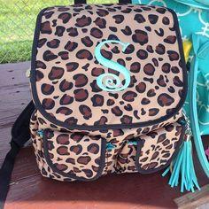 Cheetah Backpack, Aqua Girly Monograming.