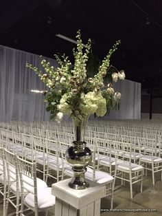 Tall Silver Vase Pedestal Ceremony Aisle Arrangement with Cotton, White Hydrangea, and White Delphinium - The French Bouquet