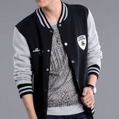 Cheap Men's Black Grey Baseball Jacket For Spring/Autumn - $84.00