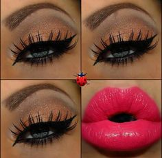 Bright lips, bronze eyeshadow and long lashes.