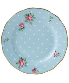 Royal Albert  Polka Blue Vintage Bread And Butter Plate, Royal Albert    £12.50