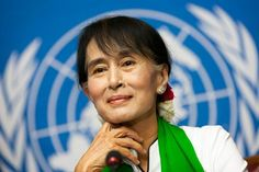"Aung San Suu Kyi, Nobel Laureate and Democracy leader in Burma. (Saw her in person today.) ""Human beings the world over need freedom and security that they may be able to realize their full potential. National League For Democracy, Asia News, Heads Up, Beautiful Inside And Out, Women In History, Powerful Women, Role Models, Feminism, Affair"