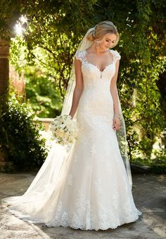 Essense of Australia Wedding Dresses, Essense of Australia Photos, Classic wedding dress idea - an updated silhouette for the traditional bride, this lace wedding dress with illusion back from Essense of Australia is . Wedding Dresses With Straps, Perfect Wedding Dress, Dream Wedding Dresses, Bridal Dresses, Wedding Gowns, Sequin Wedding, Elegant Wedding, Wedding Ceremony, Essence Wedding Dresses