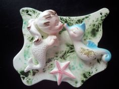 RARE MINT VINTAGE ENESCO MERMAID SEAHORSE STAR FISH CERAMIC WALL PLAQUE