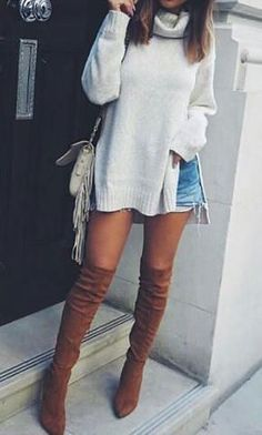 Thigh High Boots | OTK Boots | Sweater Weather | Oversized Sweater | Jean Shorts | Tassel Bags | Sling Bag | Camel | Creme | Fall Fashion  <3 @benitathediva
