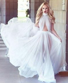 Buy Cheap Prom Dresses UK on promdress.me.uk,2018 A-line Cheap Long Sexy Simple Ivory High Neck Sleeveless Tulle Prom Dresses uk ,Elegant evening dress