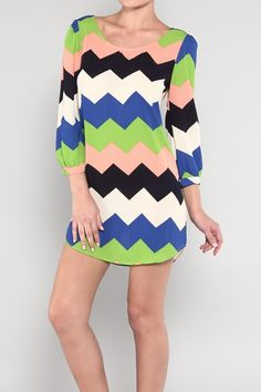 d6d9bdd1137 Cool Tone Chevron Dress Chevron Dress