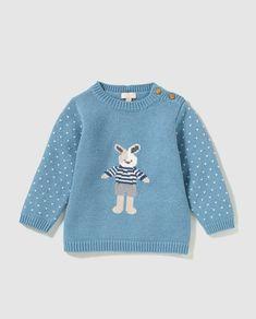Jersey de bebé niño Mini Tizzas Twins en azul con intarsia
