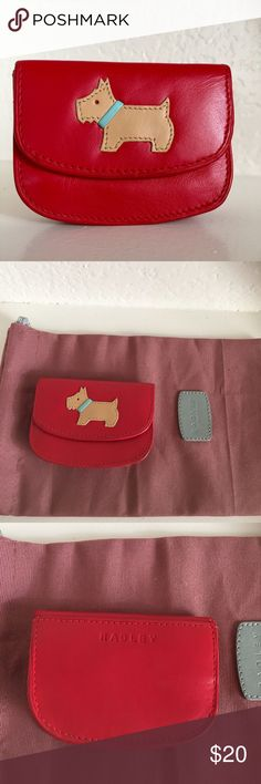 Radley London Red Leather Mini Coin/Key Purse Super cute mini coin or key purse from Radley London. It is a red leather with the Heritage Scotty Dog on the front. This comes with the original pink duster bag and has never been used. It is 3.5 inches wide by 2.75 inches tall. RADLEY LONDON Accessories Key & Card Holders