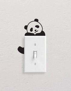 Panda Wall Decals, Panda Light Switch Decal, Simple Panda Vinyl Wall Decal, Panda Stickers, Light Switch Sticker – Willkommen in meiner Welt Simple Wall Paintings, Creative Wall Painting, Wall Painting Decor, Diy Wall Art, Diy Wall Decor, Paint Designs, Wall Art Designs, Bedroom Designs, Sticker Designs