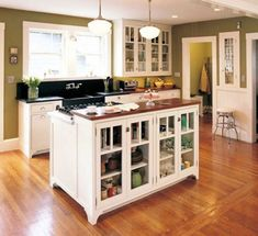 Classic Small Kitchen Design Layout 10x10 With Fascinating White Island Ideas And Rustic Wooden Floor Design Plus Breathtaking Hanging Lamps Design Together With Green Wall Paint Design