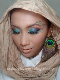 Peacock makeup. Simple peacock makeup.