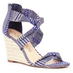 Sole Society Meika Espadrille Wedge ($35) ❤ liked on Polyvore featuring shoes, sandals, navy, strappy wedge sandals, wedge heel sandals, open toe wedge sandals, navy wedge espadrilles and navy blue wedge shoes