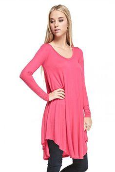 03830727c7 Womens V Neck Long Sleeve Loose Tunic Top Mini Dress for Leggings PINK L