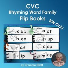 CVC Word Practice with Rhyming Word Family Flip Books for Home and School
