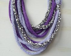 Purple Infinity Scarf, Lilac Grey Necklace Scarf, Statement Necklace, Cowl Scarf, Loop Scarf, Women's Scarf, Mother's Day Gift