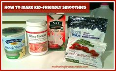 kid-friendly smoothie recipes...we'll skip the whey factors & use AdvoCare vanilla muscle gain or meal shake