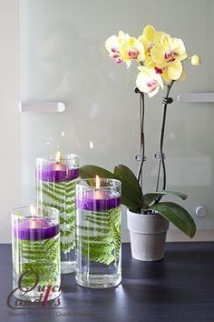 "Quick Candles Cylinder set with Floating Candle set of 3 is the perfect way to incorporate a little fun and color into your home!  Choose an existing ""something"" in your home and pick a color to accent, fill the vase with something out of your yard and you have created a serene space in your very own home."