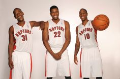 Three high-flying #Raptors in Terrence Ross, Rudy Gay and DeMar DeRozan pose on Media Day in #Toronto.