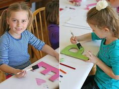 Art birthday party activity - painting initials @Elizabeth Kennedy Treats