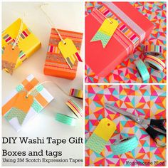 mousehouse: DIY Scotch® Tape Gift Boxes and tags Washi Tape Diy, Scotch Tape, Gift Boxes, Wraps, Gift Wrapping, Packing, My Love, Creative, Fun