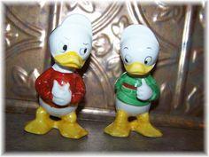 Donald Ducks Nephews Louie & Huey Salt & Pepper Shakers from victoriasjems on Ruby Lane