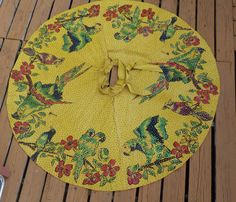 VINTAGE MEXICAN HAND PAINTED PARROTS FLOWERS SEQUINED FULLL CIRCLE SKIRT S/M #ANY