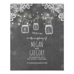Mason Jar Lights Lace Chalk Wedding Welcome Sign