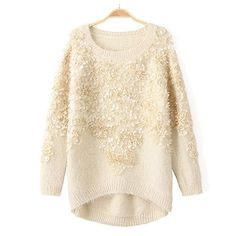 Fashion Round Neck Long Sleeve 3D Decorative Pullover Sweater