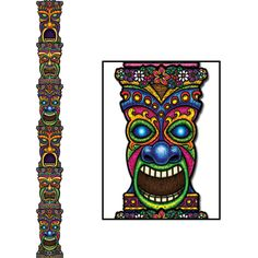 7 FEET!  Jointed TIKI TOTEM POLE Cardboard Cutout Hanging Luau Birthday Party De #Beistle